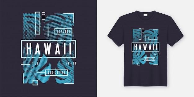 Camiseta estilosa do havaí e roupas de design moderno com decoração tropical