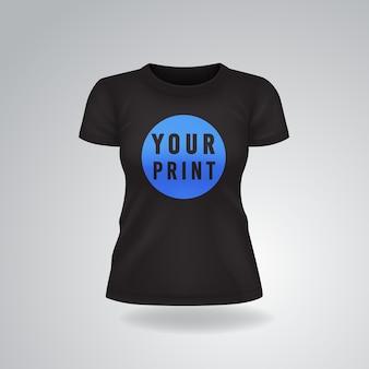 Camiseta feminina casual preta com mangas curtas simulada