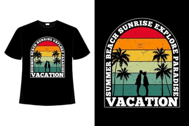 Camiseta férias nascer do sol verão paraíso estilo retro