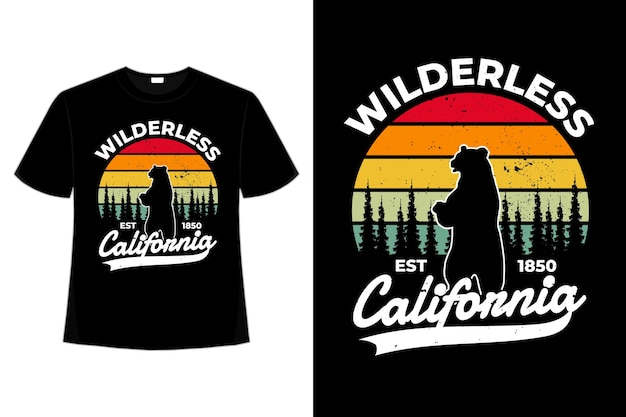 Camiseta floresta califórnia urso retrô vintage
