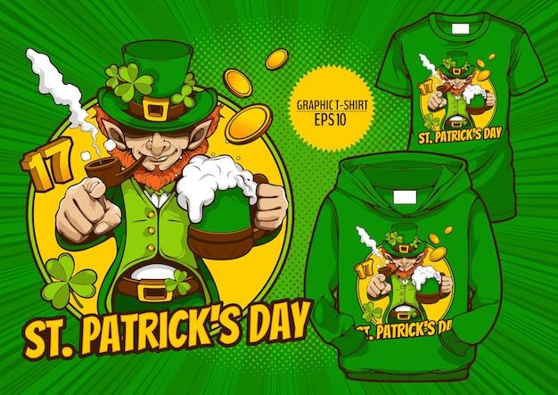 Camiseta gráfica do dia de são patrício, design de personagens de moda, festa de celebração.