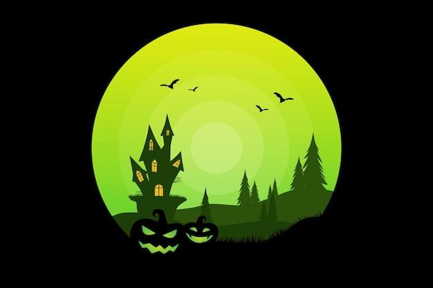 Camiseta halloween abóbora castelo pinheiro verde natureza ilustração vintage