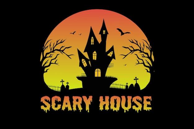 Camiseta halloween assustador casa sepultura árvore natureza ilustração vintage