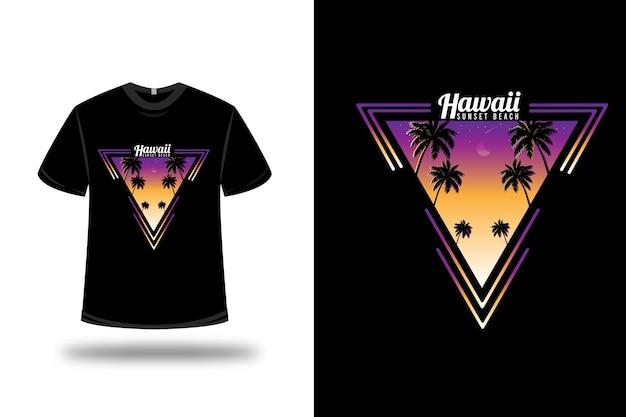 Camiseta havaí sunset beach em roxo e amarelo