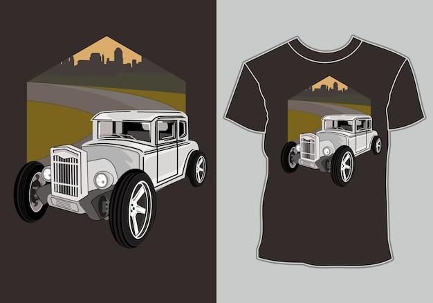 Camiseta, ilustração de carros antigos retrô de estrada quente