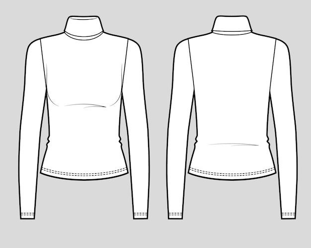 Camiseta justa de manga comprida com gola alta