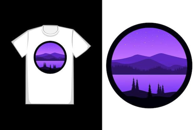 Camiseta linda montanha e floresta de cor roxa e preta