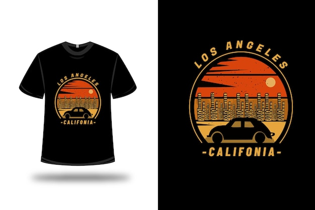 Camiseta los angeles california em laranja e amarelo