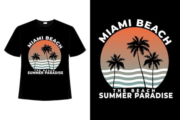 Camiseta miami beach verão paraíso estilo retro