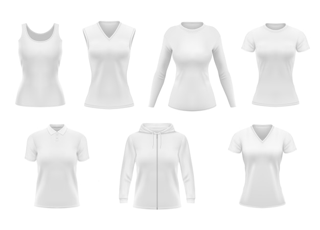 Camiseta, moletom com capuz e camisa pólo com roupa feminina e roupa de manga comprida. vestuário feminino realista, modelo de cueca branca. roupas vazias, conjunto de objetos de roupas
