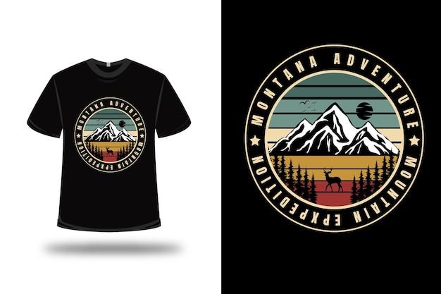 Camiseta montana aventura montanha expedição cor verde creme e vermelho