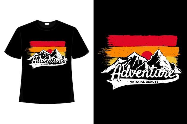 Camiseta montanha aventura retrô céu