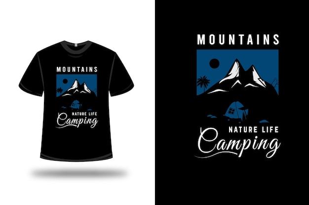 Camiseta montanha natureza vida acampamento cor azul e branco