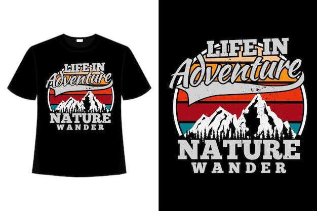 Camiseta montanha vagar aventura ao ar livre tipografia retro estilo vintage