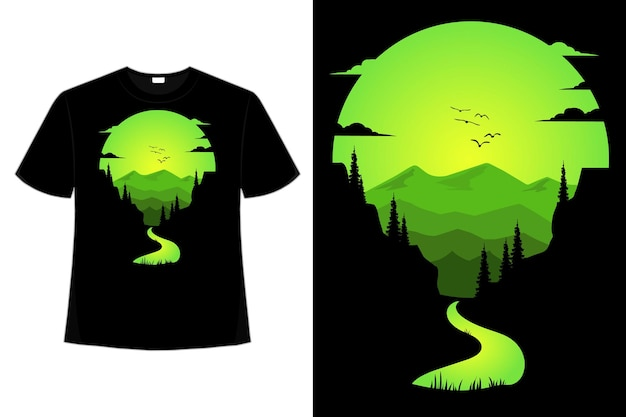 Camiseta natureza aventura rio verde montanha estilo retro ilustração
