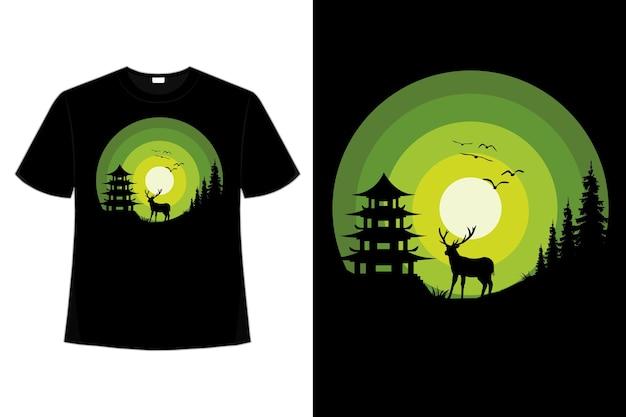 Camiseta natureza noite cervo verde pinheiro vintage retro cor ilustração plana