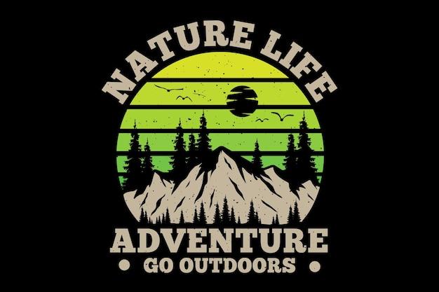 Camiseta natureza vida aventura ao ar livre pinho retro ilustração vintage