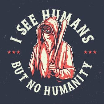 Camiseta ou pôster com ilustração de bandido de rua
