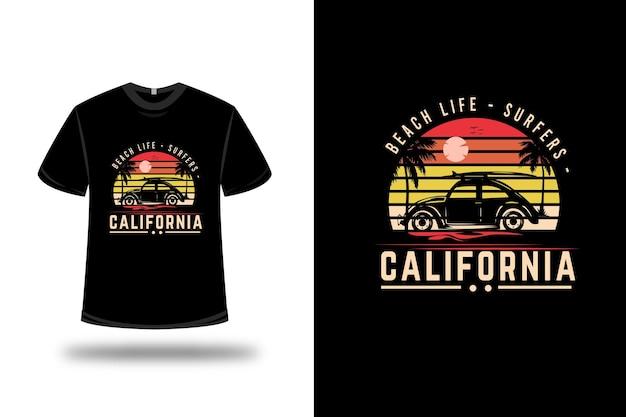 Camiseta para surfistas vida na praia cor da califórnia laranja e amarelo
