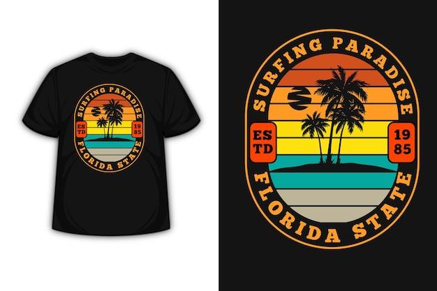 Camiseta paraíso do surfe estado florida cor laranja amarelo verde e creme