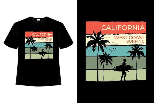 Camiseta praia da costa oeste da califórnia surf estilo retro vintage