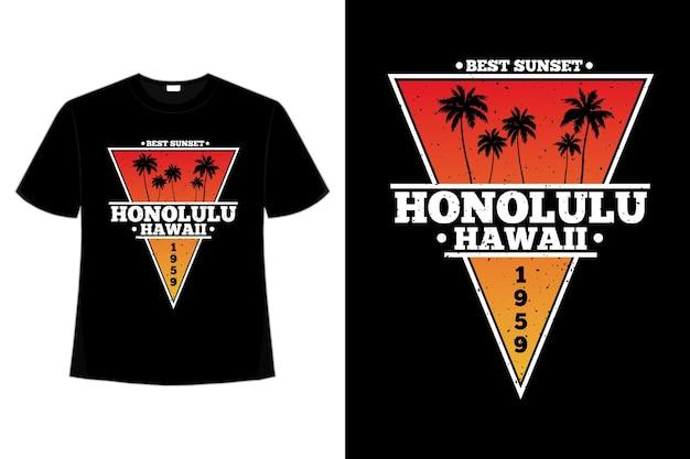 Camiseta praia havaí melhor pôr do sol