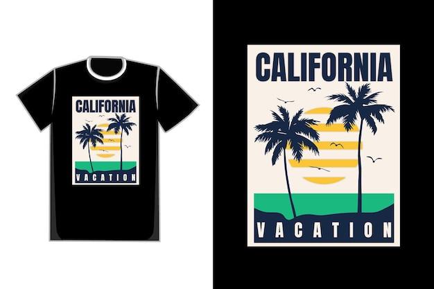 Camiseta praia nascer do sol lindo vintage férias na califórnia