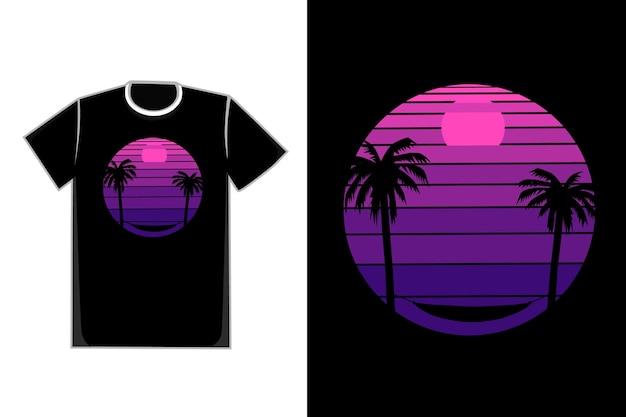 Camiseta praia pôr do sol rede cor azul e rosa