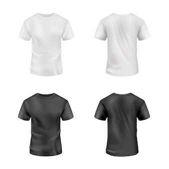 Camiseta preta e branca em fundo branco. maquete do vetor. vista frontal e traseira do modelo de camisa em branco do esporte, homens roupas para uniformes realistas de roupas de moda para impressão de têxteis de publicidade.