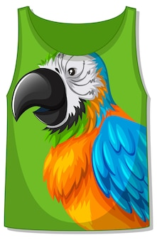 Camiseta regata com padrão pássaro papagaio