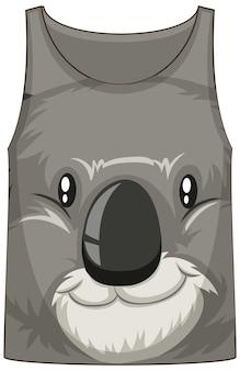 Camiseta regata com rosto de padrão de coala
