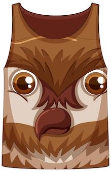 Camiseta regata com rosto de padrão de coruja