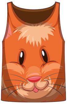Camiseta regata com rosto de padrão de hamster