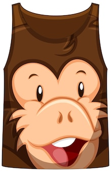 Camiseta regata com rosto de padrão de macaco