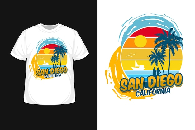 Camiseta san diego califórnia, design linda praia