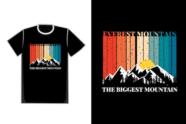 Camiseta silhueta montanha everest árvore pinho