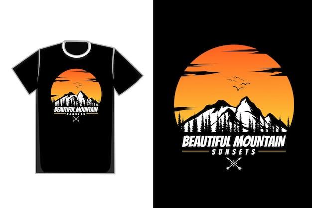 Camiseta silhueta montanha natural lindo pôr do sol céu