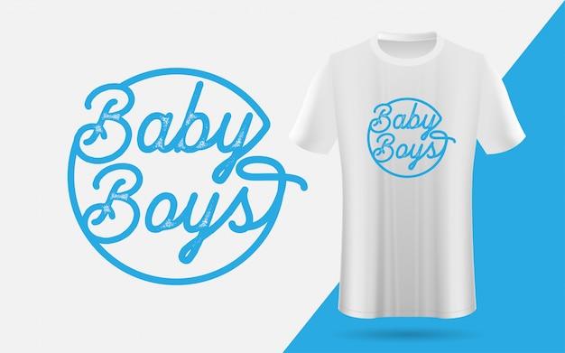 Camiseta simples e emblema para bebês meninos