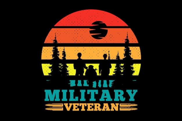 Camiseta soldado americano veterano militar retro ilustração vintage