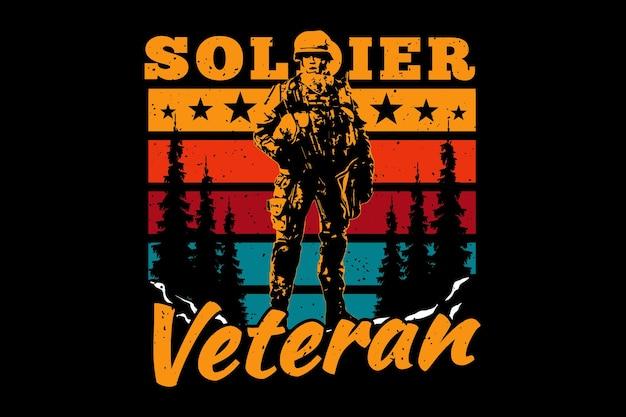 Camiseta soldado veterano caçador de pinheiros ilustração vintage retrô