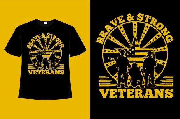 Camiseta soldado veteranos bandeira americana tipografia ilustração vintage