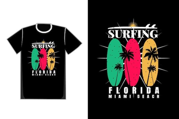Camiseta suft florida praia pôr do sol estilo retro