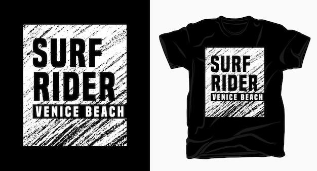 Camiseta surf rider veneza praia textura tipográfica