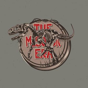 Camiseta temática de dinossauro com ilustração de ossos de dinossauros envelhecidos