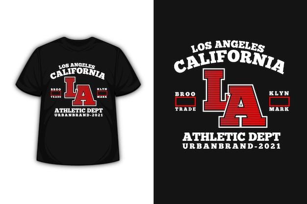 Camiseta tipografia califórnia atlético departamento urbano cor da marca branca e vermelha Vetor Premium