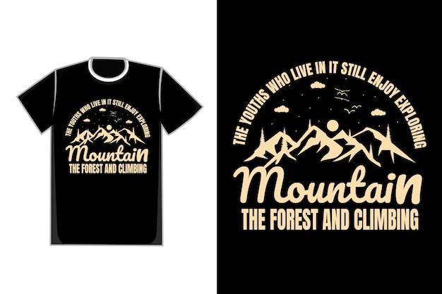 Camiseta tipografia montanha pinheiro lindo