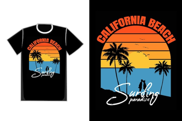 Camiseta tipografia silhueta praia pôr do sol céu paraíso retro