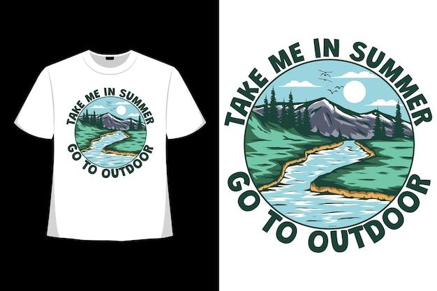Camiseta verão ao ar livre natureza vida lago desenhado à mão estilo retro vintage