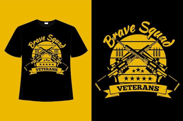 Camiseta veteranos atirador bravo esquadrão tipografia ilustração vintage