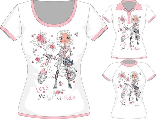 Camiseta vetorial com garota fashion e scooter